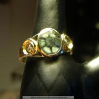 Ring, Trapiche-Smaragd, Brillanten, Gold
